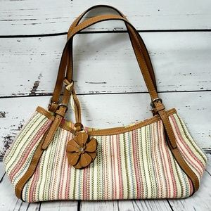 Fossil Stripped Stitched Woven Leather bag 75082